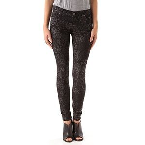 7FAM Black Floral Gwenevere Ripped Skinny Jeans 27